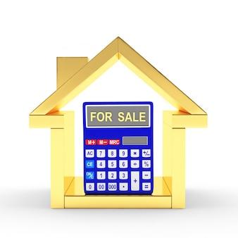 Casa dorada y calculadora con la palabra en venta