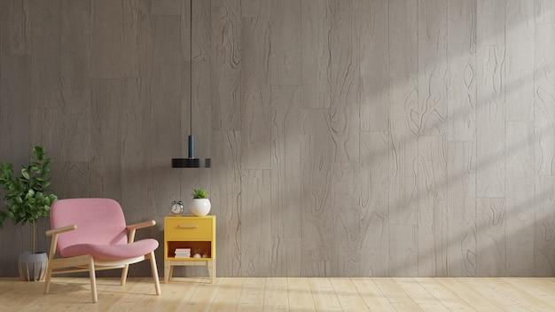 Casa estilo loft con sillón y accesorios en la habitación representación 3d