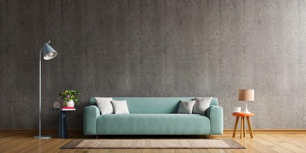 Casa estilo loft con sofá y accesorios en la habitación detrás del muro de hormigón. representación 3d.