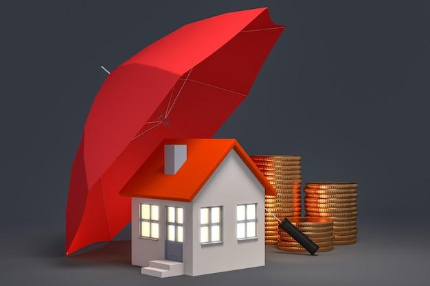 Casa de guardia de paraguas y pila de monedas de oro - hipoteca inmobiliaria o concepto de seguro de propiedad - ilustración 3d