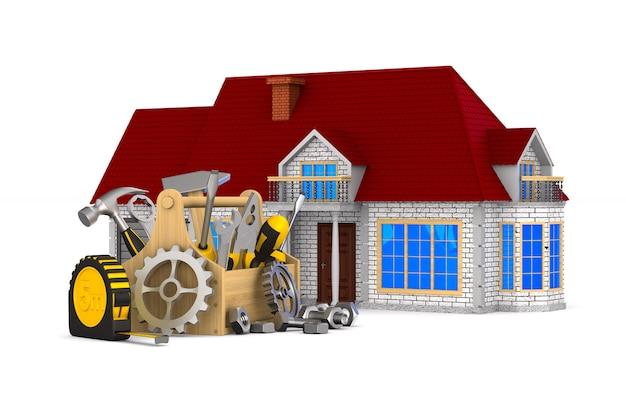 Casa y herramientas en blanco. ilustración 3d aislada