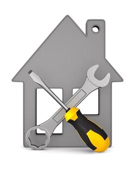 Casa y herramientas sobre fondo blanco. ilustración 3d aislada