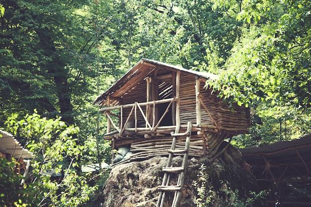 Casa de madera en bosque en armenia