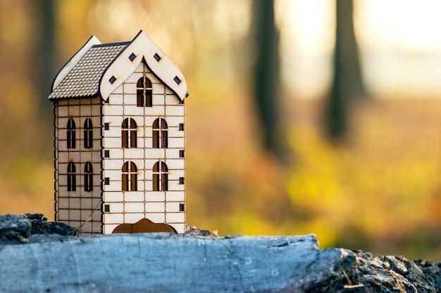 Casa de madera de juguete en el bosque. viviendo en la naturaleza