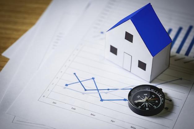 Casa modelo y brújula en el fondo del plan, concepto de bienes raíces