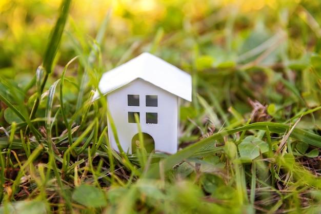 Casa modelo de juguete blanco en miniatura en la pradera con hierba