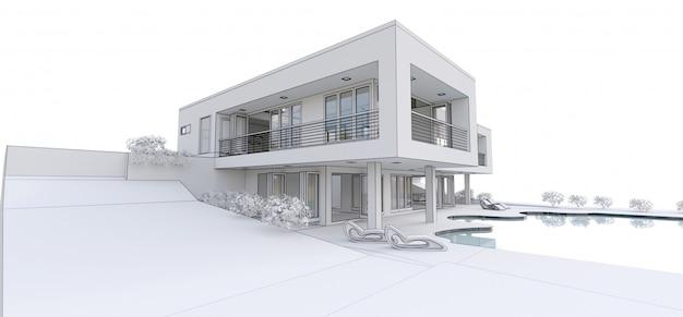 Casa moderna 3d,. ilustración 3d