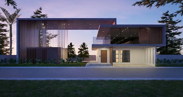 Casa moderna y acogedora en estilo de lujo. escena nocturna. representación 3d