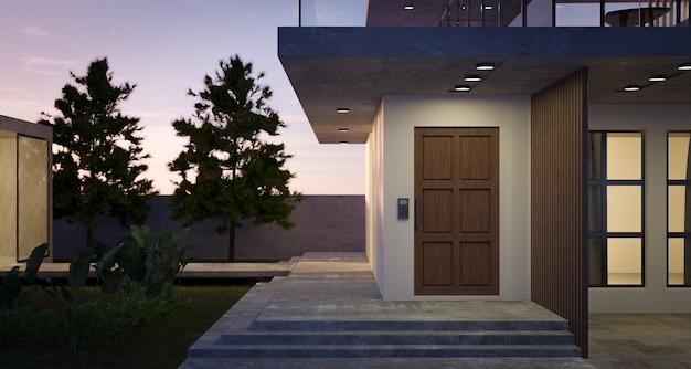 Casa moderna y acogedora con puerta de madera, jardín tropical y escalera de cemento. escena nocturna. representación 3d