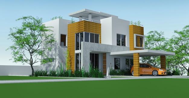 Casa moderna con cochera de césped con mini jardín. representación 3d