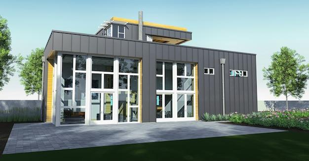 Casa moderna con jardín y garaje. representación 3d