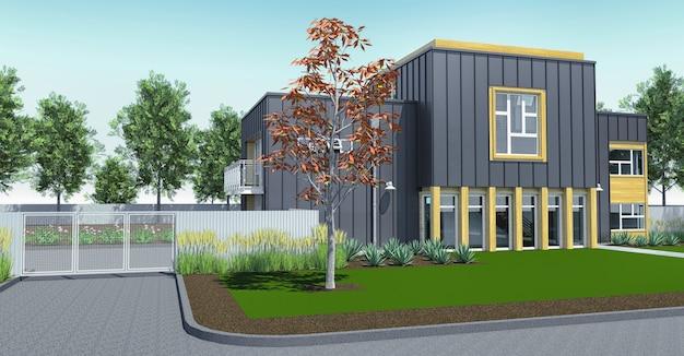 Casa moderna con jardín y garaje. representación 3d.
