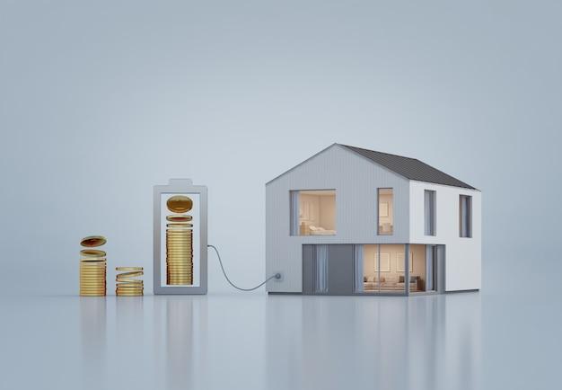 Casa moderna con monedas de oro en inversión inmobiliaria y concepto de crecimiento empresarial.