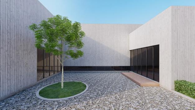 Casa moderna con patio abierto con árboles de características y suelo de guijarros. renderizado 3d