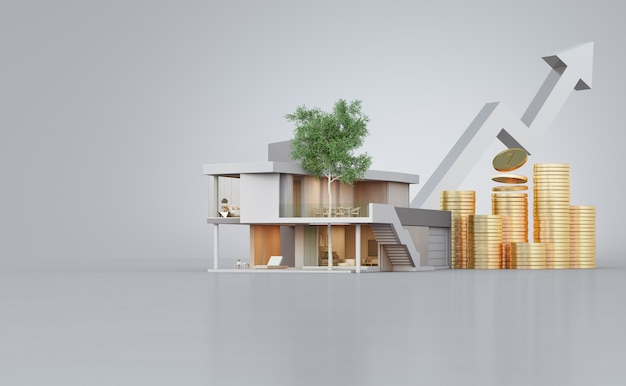 Casa moderna en piso de concreto con espacio de copia en blanco en venta de bienes raíces o concepto de inversión inmobiliaria.