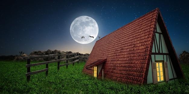 Casa de noche con luna llena casa de miedo en el bosque cerca del cementerio por la noche