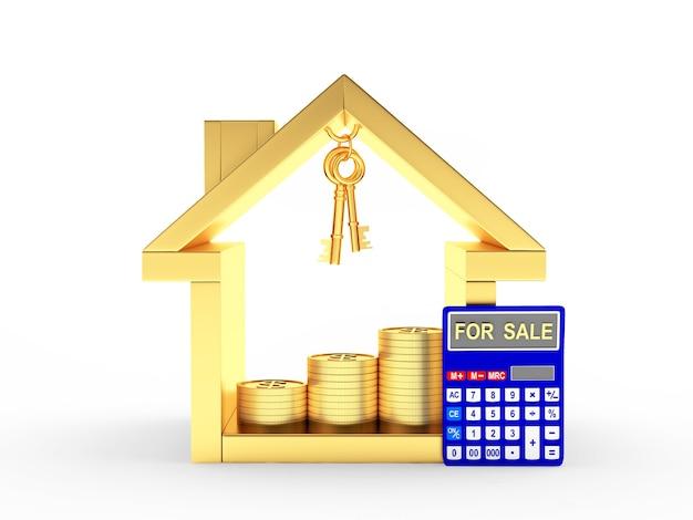 Casa de oro, monedas y calculadora con la palabra en venta