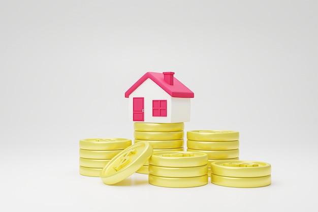 Casa en pila de monedas.