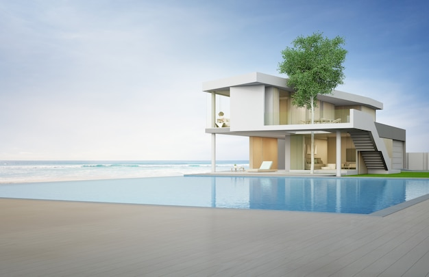 Casa de playa de lujo con piscina y terraza con vistas al mar en un diseño moderno.