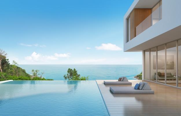Casa de playa con piscina de diseño moderno.