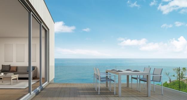 Casa de playa con vista al mar en diseño moderno.