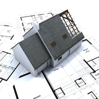 Casa unifamiliar en planos de arquitecto