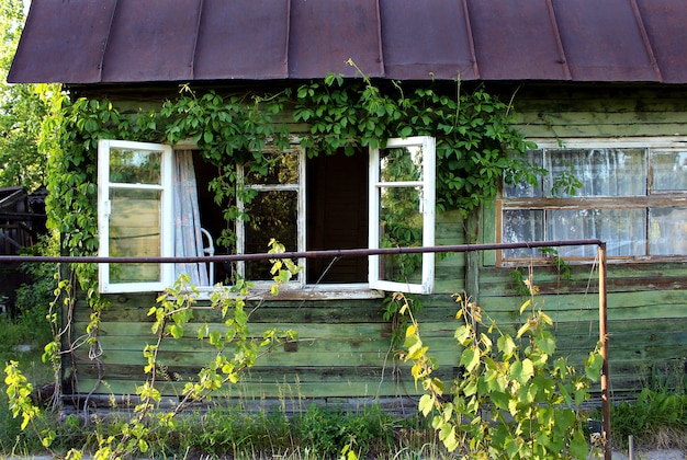 Casa verde ventana jardin