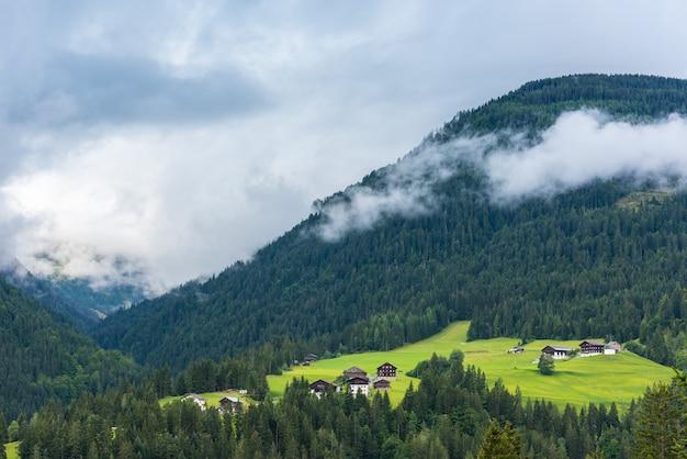 Casas alpinas tradicionales en las montañas de los alpes de bosque verde. tiro horizontal