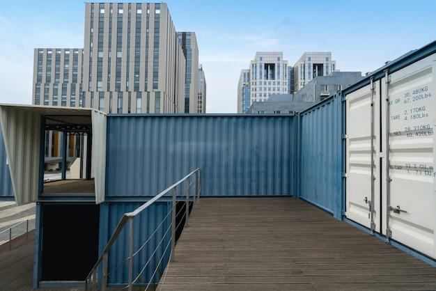 Casas de contenedores y edificios de oficinas en el parque de alta tecnología, qingdao, china