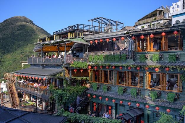 Casas de té en laderas en jiufen, nuevo taipei, taiwán