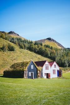 Casas tradicionales islandesas con césped.