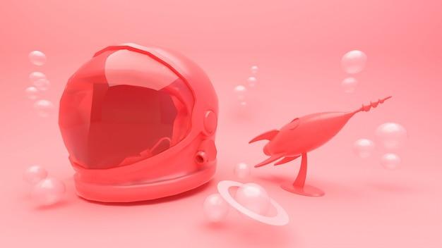 Casco rosado del astronauta y representación rosada del cohete 3d.