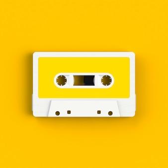 Casete de cinta de audio vintage en amarillo