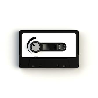 Casete de cinta de audio vintage con perilla de volumen