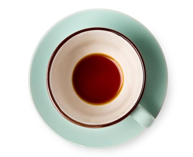 Casi termino. primer vacío de la vista superior de la taza de café aislado. beber sobras