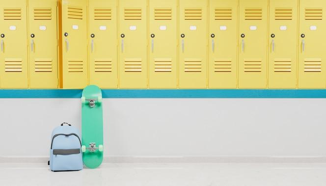 Casilleros en el pasillo de una escuela