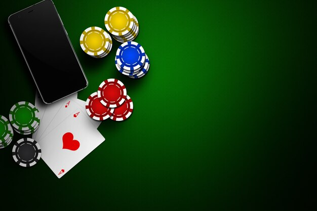Casino en línea, casino móvil, teléfono móvil, tarjetas con fichas en verde