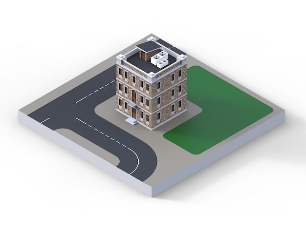Una casita de tres pisos y vista en perspectiva.