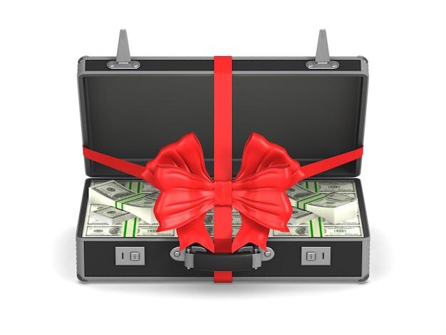 Caso con dinero en efectivo en blanco. ilustración 3d aislada