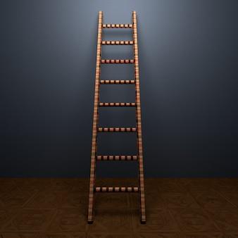 Caso de escaleras o concepto de pasos en el fondo de la pared de la habitación