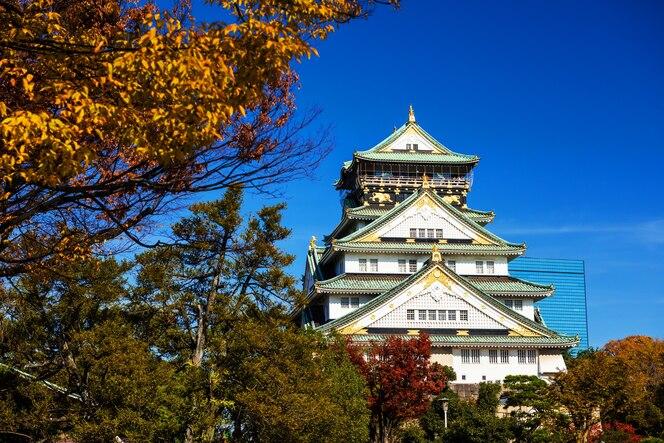 Castillo de osaka con hojas de otoño