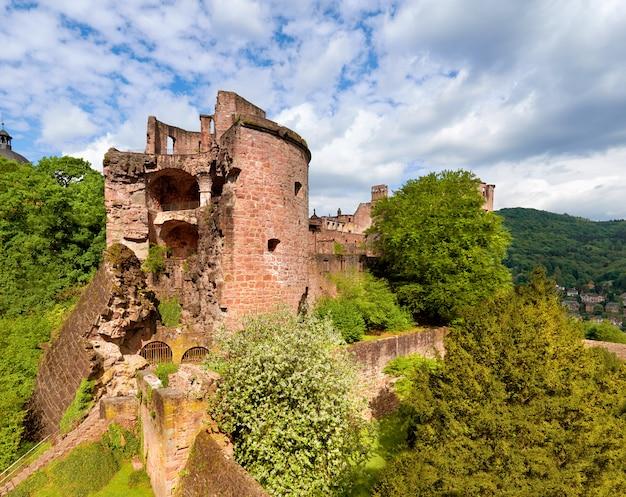 Castillo de heidelberg en primavera, panorama