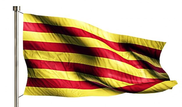 Cataluña bandera nacional aislado 3d fondo blanco