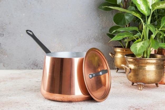 Cazuela de cobre vintage y plantas verdes