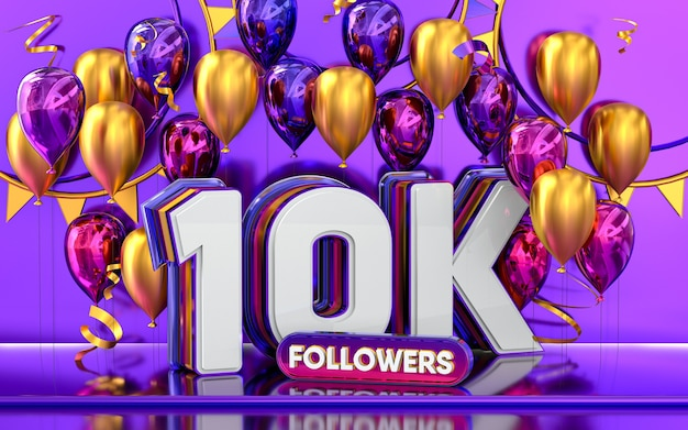 Celebración de 10k seguidores gracias banner de redes sociales con representación 3d de globos morados y dorados
