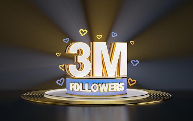 Celebración de 3 millones de seguidores gracias banner de redes sociales con fondo dorado de foco 3d