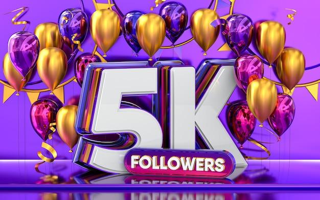 Celebración de 5k seguidores gracias banner de redes sociales con representación 3d de globos morados y dorados
