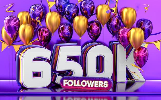 Celebración de 650k seguidores gracias banner de redes sociales con representación 3d de globos morados y dorados