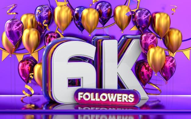 Celebración de 6k seguidores gracias banner de redes sociales con representación 3d de globos morados y dorados