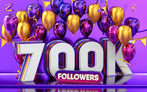 Celebración de 700k seguidores gracias banner de redes sociales con representación 3d de globos morados y dorados